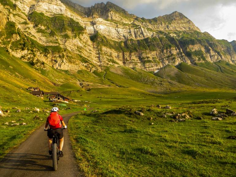 Riding an ebike in the Alps