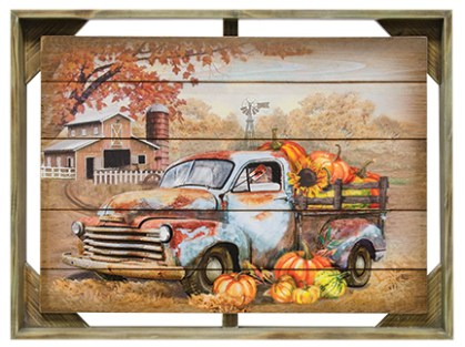 autumn truck wall art