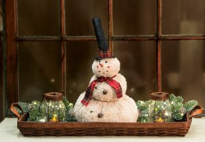 top hat fluffy snowman