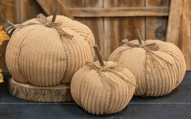 cream chenille pumpkins