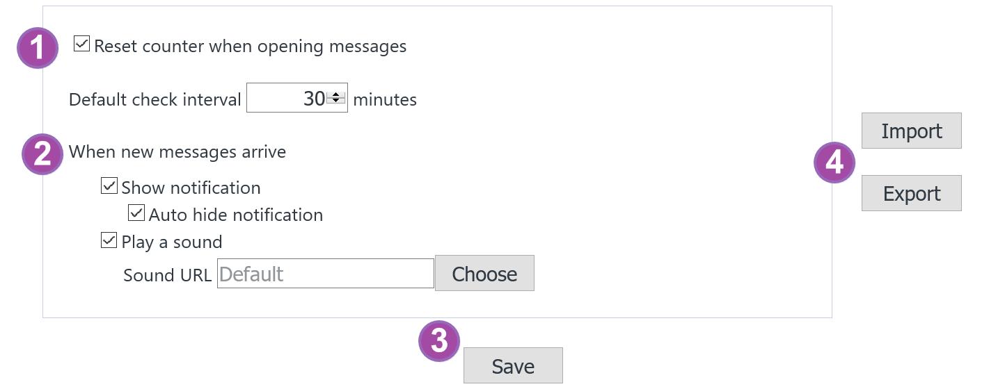 Webmail 檢查套件 X-notifier 全域設定