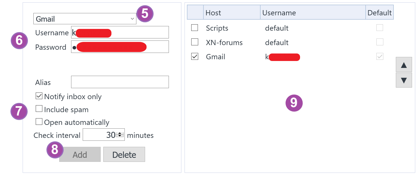 Webmail 檢查套件 X-notifier 新增郵件帳號