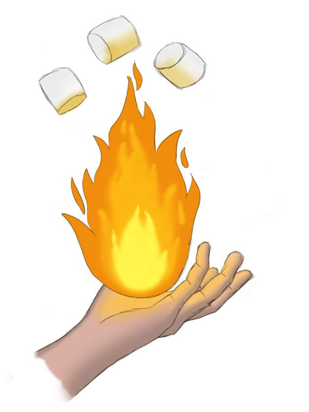 Photoshop painting of a hand holding a magic ball of fire with toasted marshmallows floating above it
