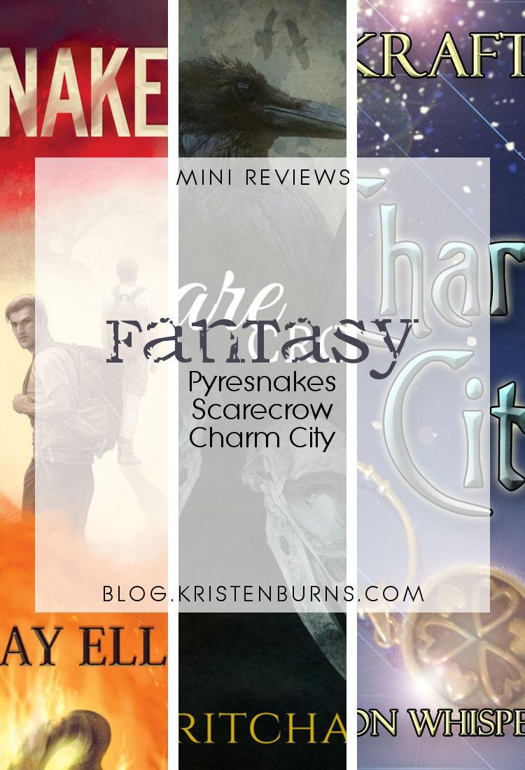 Mini Reviews: Fantasy - Pyresnakes, Scarecrow, Charm City   reading, books, book reviews, fantasy, paranormal/urban fantasy, lgbt, angels, demons