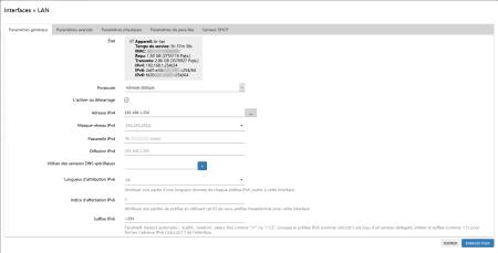OpenWRT - Interfaces » LAN (Paramètres généraux)