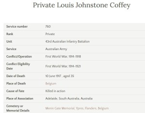 Private Louis Johnstone Coffey