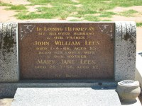 John William Lees Mary Jane Lees Elmore Cemetery