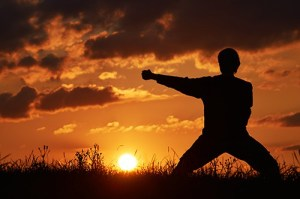 Man practicing karate on the grassy horizon at sunset. A blow wi