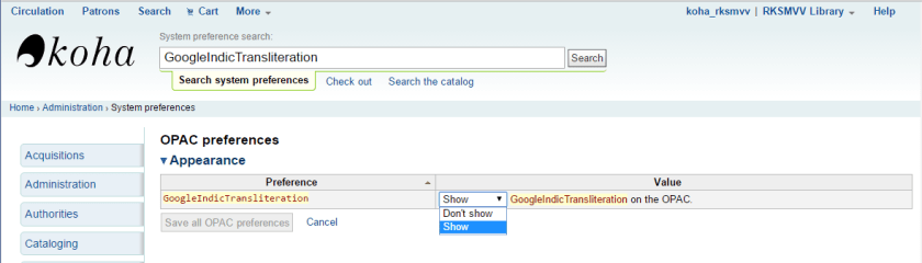 GoogleIndicTransliteration system preference