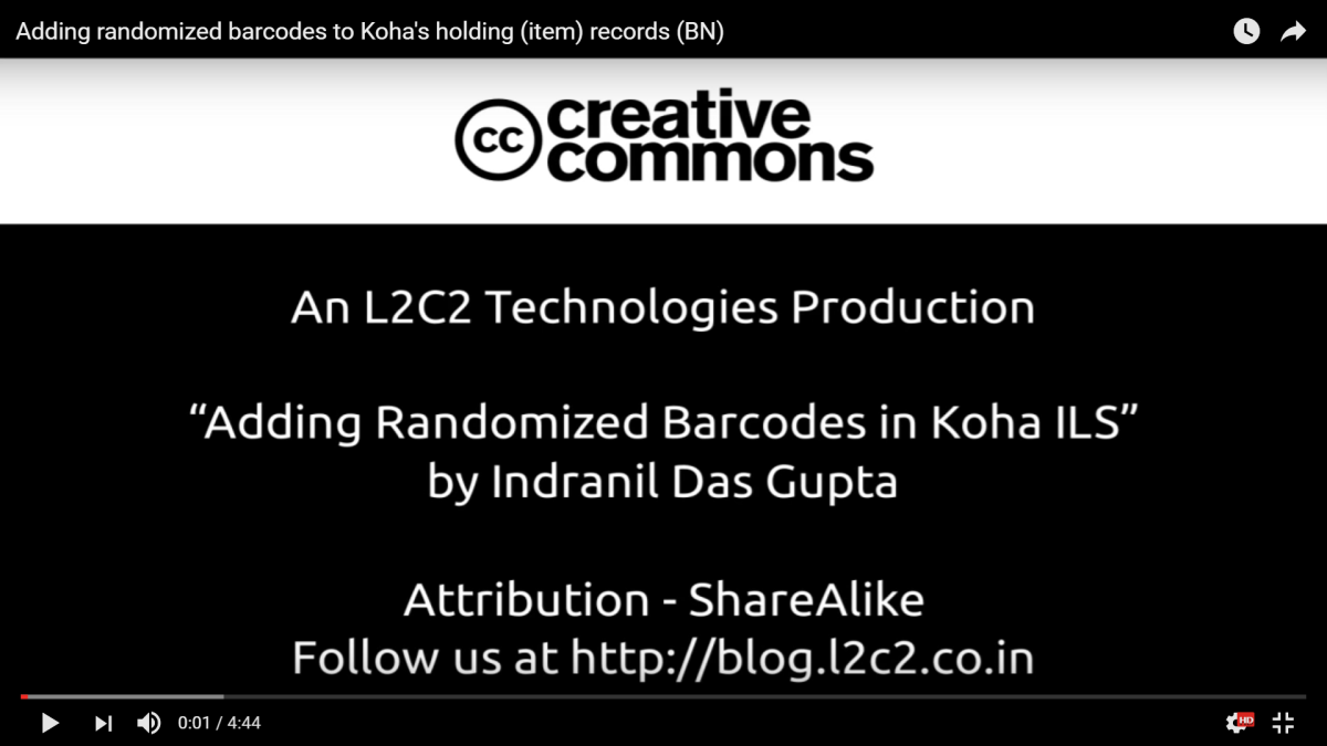 Adding randomized barcodes to Koha's holding (item) records (in Bengali)