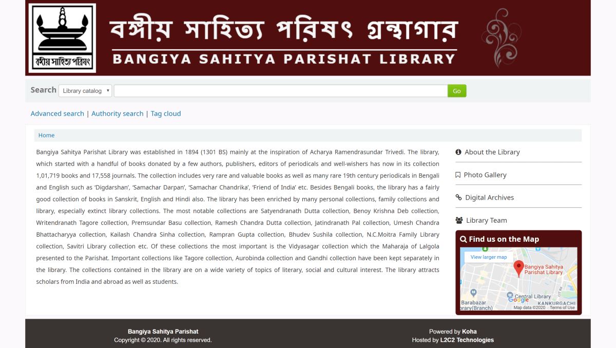 Bangiya Sahitya Parishat Library goes online with L2C2 Technologies
