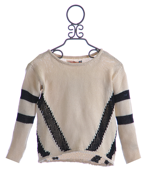 vintage havana designer sweater in ivory and black diagonal 1
