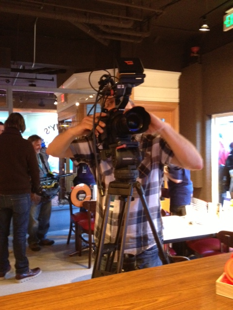Sundance Channel Getting ready to film Anna making a cappuccino