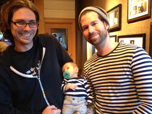 Brent sporting Benson. Matching his shirt with the hip baby!  Baby's name Joshua Douglas. Chris Roberts is the father. Chris did some work with the build crew for Sundance.