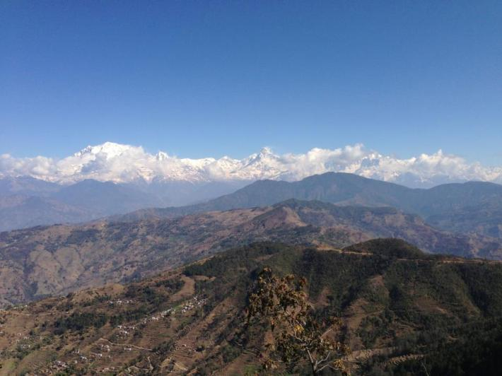 Annapurna - a goddess to those who love mountains. The view from a coffee farm.