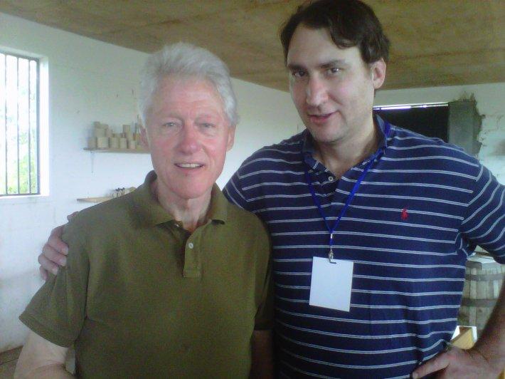 President Clinton and La Colombe COO Tobin Bickley in Haiti
