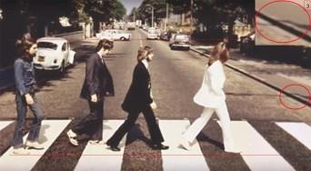La línea muestra a Faul bastante más alejado que los demás. Ringo un poco más cerca. John y George caminan sobre el mismo plano.