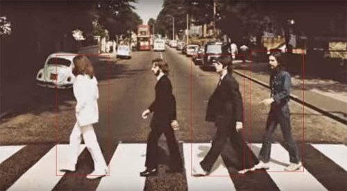 Más comparativa de alturas. Se ha colocado un cuadro en John, Faul y George. Oficialmente este último debería haber sido el de menor estatura.