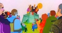 """La banda del Sargento Pimienta ameniza el ambiente. Pero, ¿qué representa en la película? No olvidemos el momento en el que se ideó la historia: tras la desaparición de Paul, cuando se creó la """"nueva banda"""". En el film está, simple y llanamente, para mostrar la duplicidad: DOS bandas, personajes idénticos, pero diferentes grupos. Es la dicotomía entre los Beatles y lo que surgió después. Los """"dobles"""" serán los elegidos para salvarlo todo, para alzar al pueblo a la revolución. Muestra la influencia de la música en la gente, cómo puede esta cambiar las actitudes. En contra de lo que muchos han pensado, la banda del Sargento Pimienta no es aquí el alter ego de los Beatles. El alter ego está en la película, pero no es este. Más adelante veremos quién es… Las imágenes anteriores sirven para mostrar las excelencias de la tierra de Pepperland: todo brillo, color y concordia."""