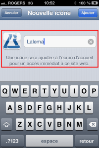 Lalema site Mobile | Nommer le raccourci