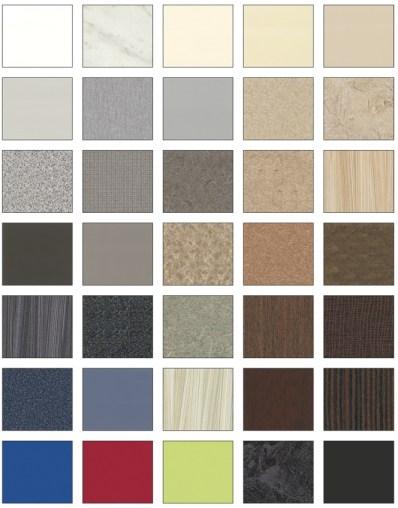 Exemple d'une palette de couleur pour partition de toilettes Bobrick