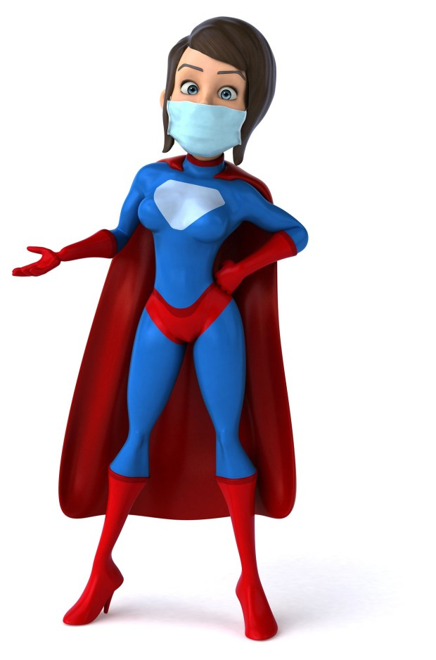 Superhéroine portant un masque en période de pandémie COVID-19