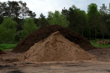 Re-use of soils-topsoil pile.