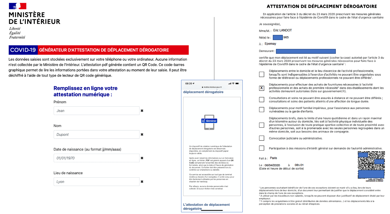 L Attestation De Deplacement Derogatoire Au Format Numerique Est En Ligne Version D Avril 2020