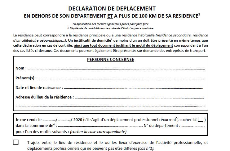 Voici La Declaration Deplacements De Plus De 100 Km Hors Departement Mise A Jour Au 22 5