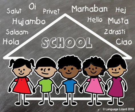 "cartoon children in front of a school with ""hello"" in many languages"