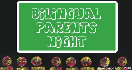 "colorful stick figure people in a classroom with a chalkboard that says, ""Bilingual Parents Night"""
