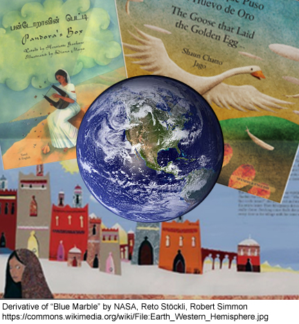 earth with background of world folk tales