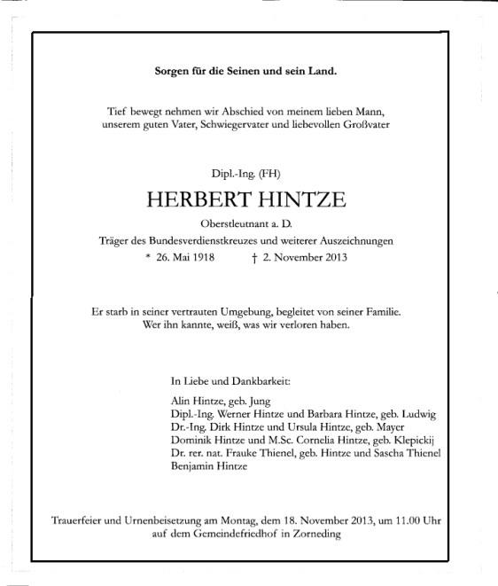 Todesanzeige Herbert Hintze