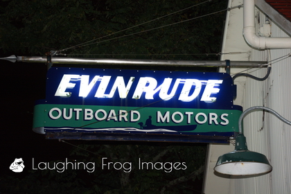 Evinrude Outboard Motors neon sign. Florence, OR.