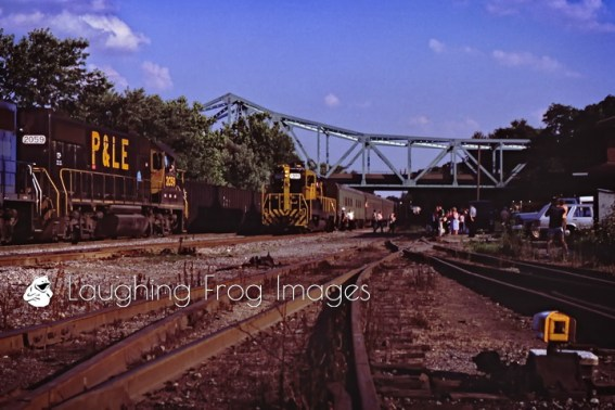 The last Pittsburgh & Lake Erie commuter train form Pittsburgh arrives in College, PA on July 12, 1985.