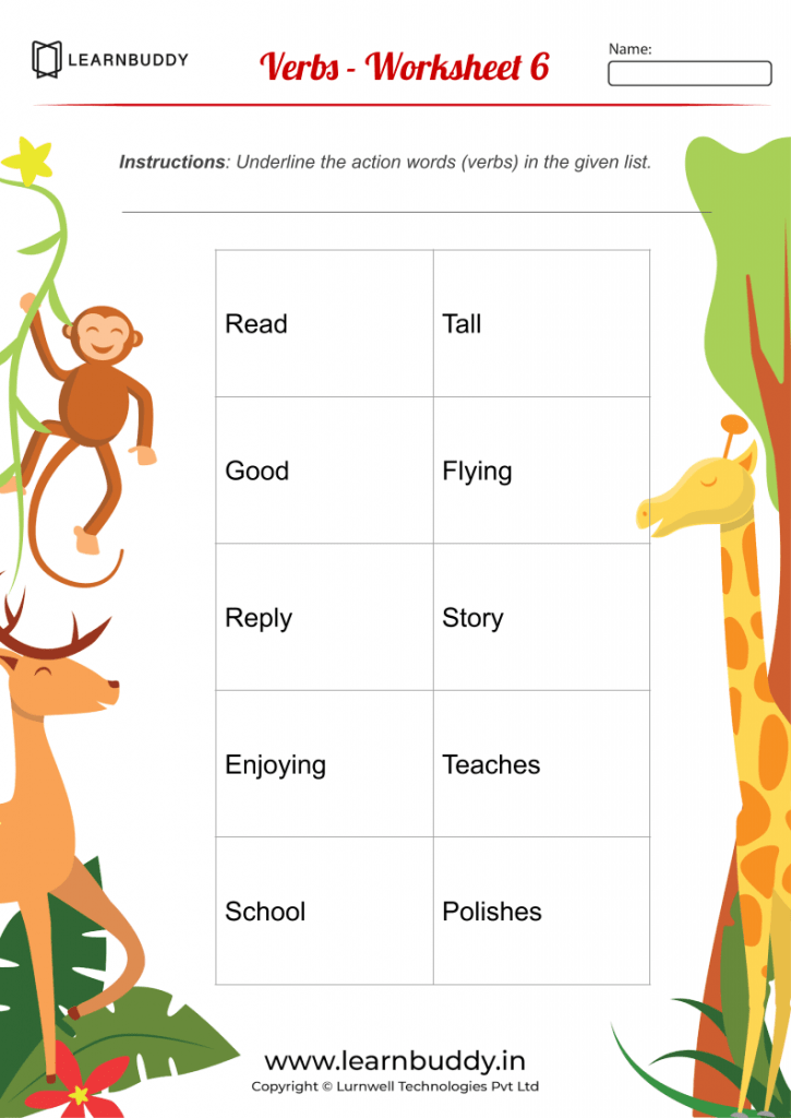 English Worksheets For Class 1 Nouns Verbs Pronouns
