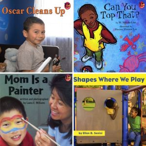 Book covers of OSCAR CLEANS UP, CAN YOU TOP THAT?, MOM IS A PAINTER, and SHAPES WHERE WE PLAY