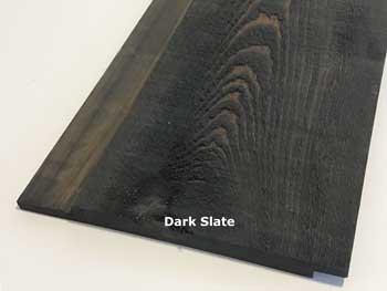 Cypress Channel Rustic Siding prefinished in dark slate stain