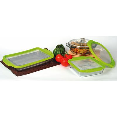 "Our glass bakeware comes in three sizes, including the versatile ""9 by 13"". Find out more at Lehmans.com."