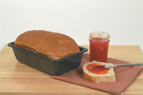 Breads bake up evenly and brown beautifully in Lehman's enamelware loaf pan. Available now at Lehmans.com or Lehman's in Kidron, Ohio.