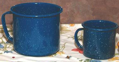 Ideal for cocoa, coffee or tea, these enamelware coffee mugs are available at Lehmans.com or Lehman's in Kidron, Ohio. (You may want more cocoa mix in the giant mug!)