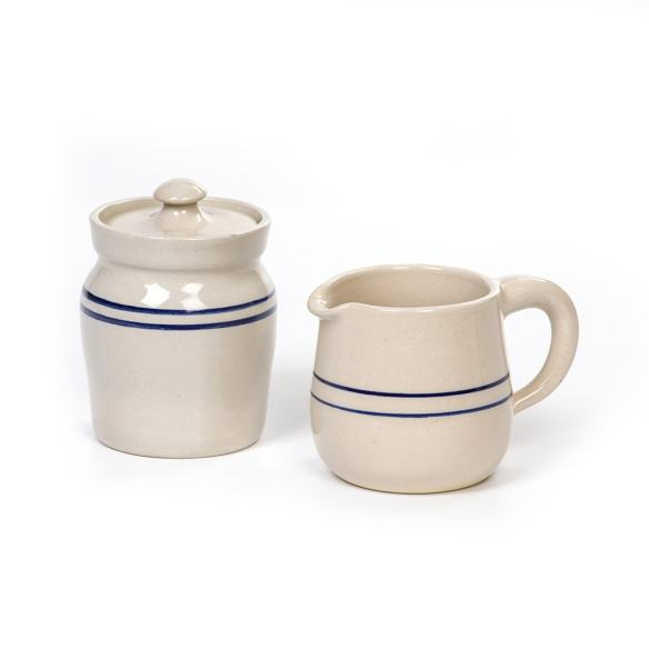 Heritage Blue Stripe Stoneware Sugar and Creamer Set