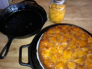 Peach Upside Down Cake in Cast Iron Pan