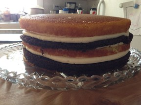 Stacked and filled, the cake will be left to set for about an hour.