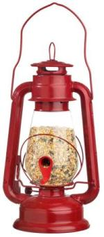 Metal and plastic lantern bird feeder, red