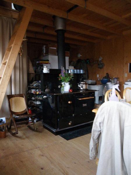 Rene's Pioneer Princess Wood Cook Stove is at the center of her family's cabin lifestyle.