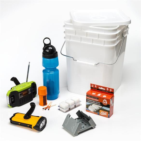 Emergency Survival Kit - It might be the most important bucket in your home! A source of light, heat and water packaged all in one convenient bucket; essential items to help you and your family cope during unexpected power outages, storms and other emergencies.