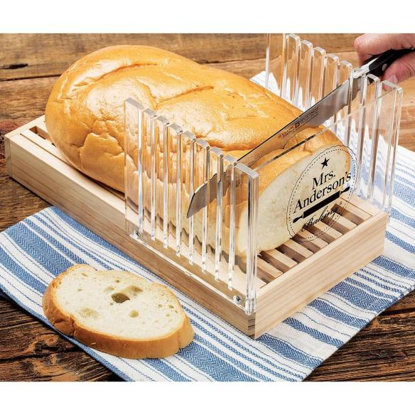 Slice perfect pieces of homemade bread with this clever guide - comes with a crumb tray, too. At Lehmans.com.