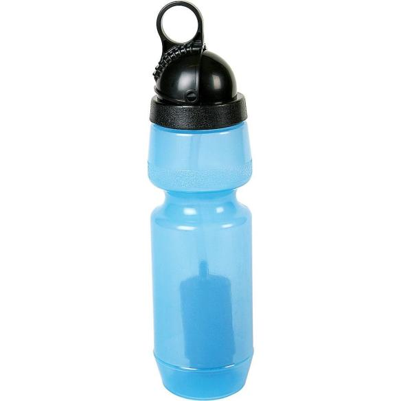 "It looks like an ordinary water bottle, but it's actually a sophisticated water filter. Low cost, portable, and easy to use. Fill the bottle with ""raw"" water and squeeze out safe, sparkling-clean water."