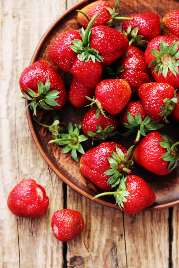 strawberries on barn siding